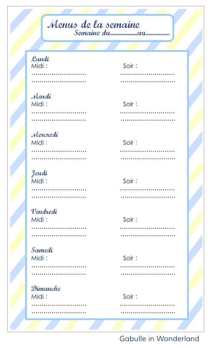 Gabulle In Wonderland Planning Pour Les Menus De La Semaine A Imprimer