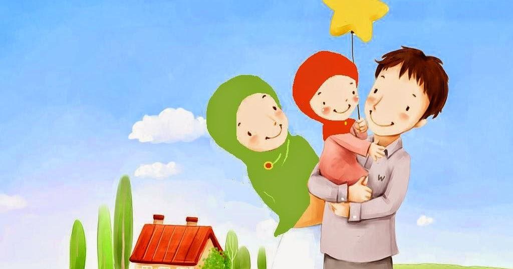 Gambar Kartun Keluarga Muslim Dengan 2 Anak Perempuan ...