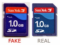 fake and real memory card
