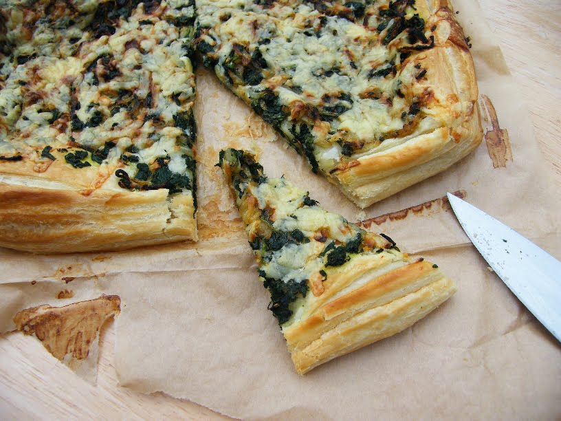 Vegetarian Spinach & Onion Puff Tart