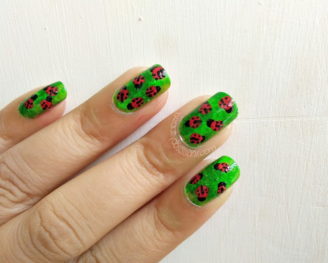 Ladybug on my Nails | Step by Step Nailart Tutorial | Monsoon Inspired Nailart
