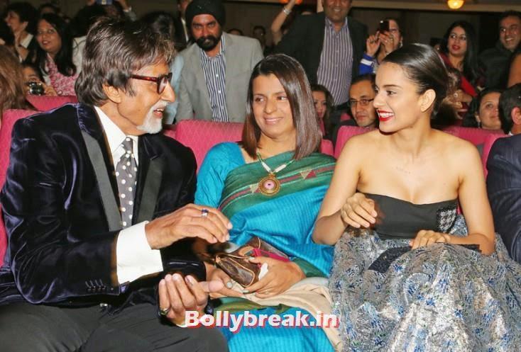 Amitabh Bachchan greets Kangana Ranaut, Kangana Ranaut & Amitabh Bachchan at the Indian Film Festival of Melbourne Awards