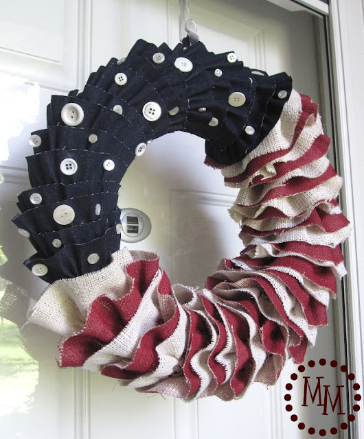 Burlap & Denim Ruffled Patriotic Wreath by The Scrap Shoppe Blog