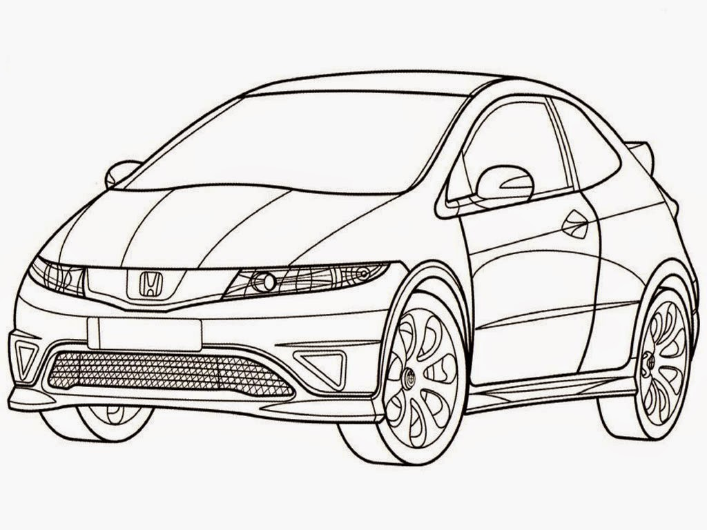 Honda Civic Type R Coloring Pages | Realistic Coloring Pages