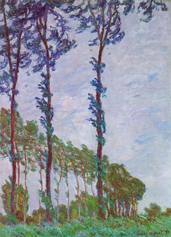 Els pollancres, en el vent (Oscar-Claude Monet)