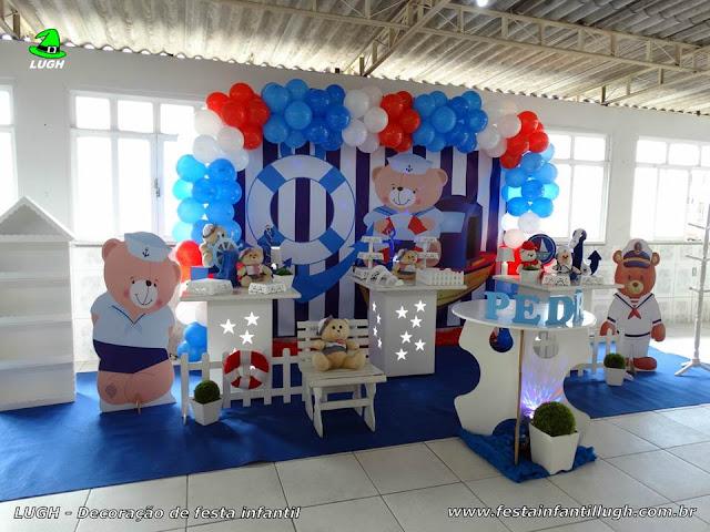 Decoração de aniversário infantil Ursinho Marinheiro - Provençal