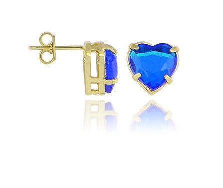 Comprar Brinco Folheado a Ouro em Forma de Coração Azul Safira