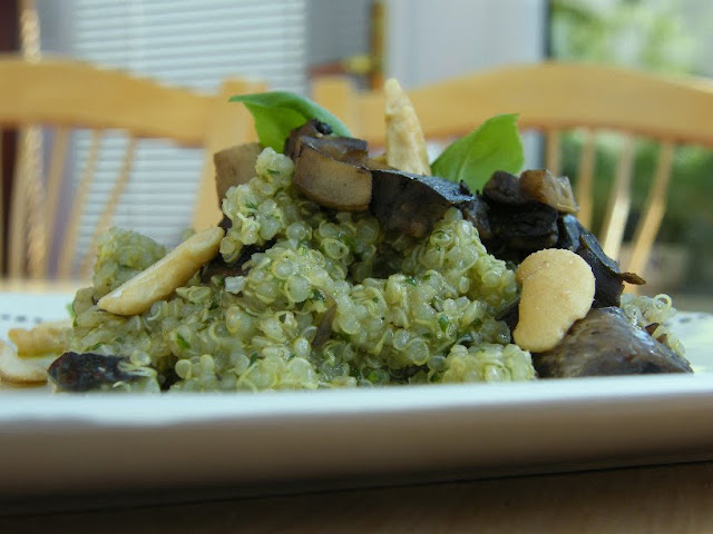 Herby Quinoa Salad with Mushrooms on a white plate