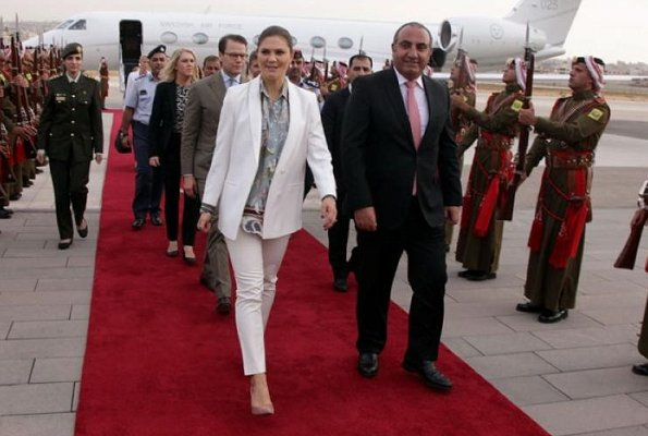 Crown Princess Victoria and Prince Daniel with Lena Hallengren are making a 3 day visit to Jordan. Amman Citadel. H&M Blazer suit