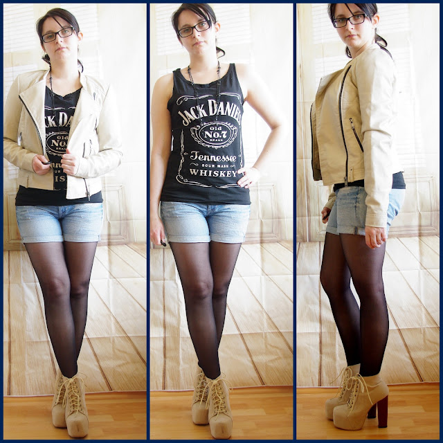 [Fashion] Hey Jack - it's me: Jack Daniel's Shirt, Shorts & Beige Leather Jacket