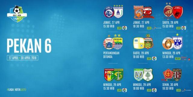 Jadwal Liga 1 2018 Pekan Keenam