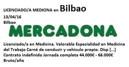 Lanzadera de Empleo Virtual Bizkaia, Oferta Mercadona Bilbao