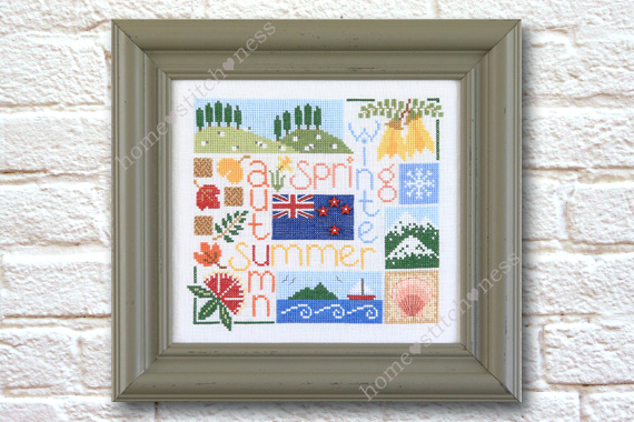 Four Seasons in New Zealand cross stitch design by homestitchness