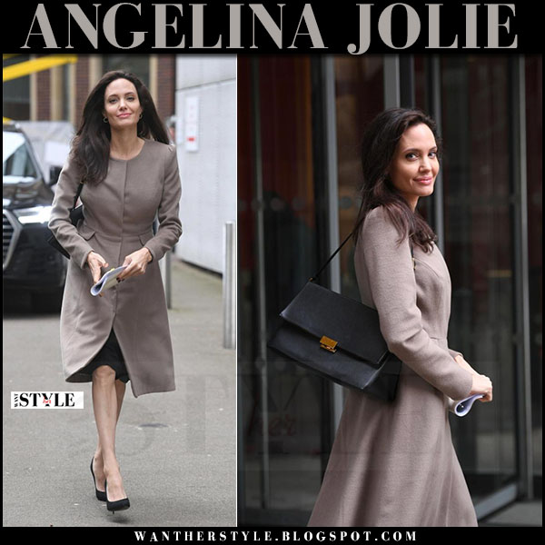Angelina Jolie in grey laura basci coat, black pumps with black leather stella mccartney beckett bag what she wore march 2017