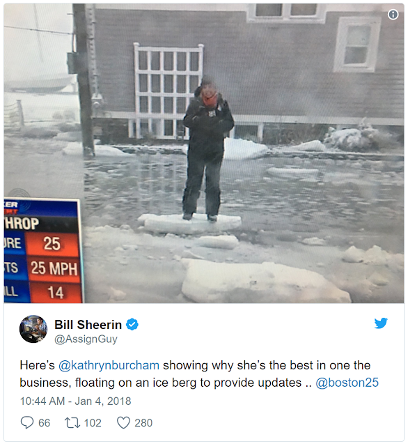 - Bill Sheerin Tweet Jan 2018. Boston reporter on an ice float reporting the on the weather