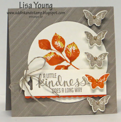 Stampin' Up! Kinda Eclectic stamp set. Bitty Butterfly punch. Handmade card by Lisa Young, Add Ink and Stamp