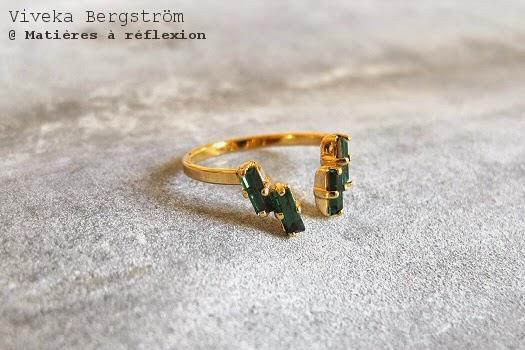 Viveka Bergstrom bijoux cristaux verts bague doré verte