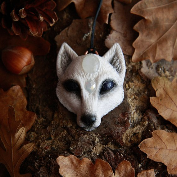 yunocrafts' polymer clay animal pendant artic fox