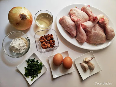 ingredientes para pollo en pepitoria
