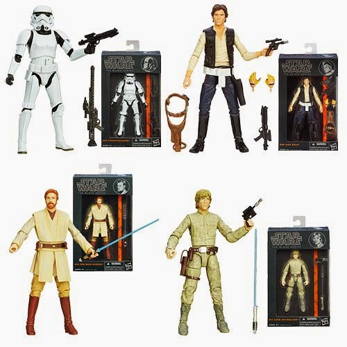 Star Wars Black Series Wave 2 6 Inch Action Figures - Stormtrooper, Han Solo, Revenge of the Sith Obi-Wan Kenobi & Bespin Fatigues Luke Skywalker