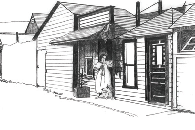 Brenda Wilbee's sketch of Paradise Alley, Skagway AK, 1898