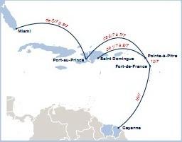 Carte des vols entre Guyane, les Antilles et Miami