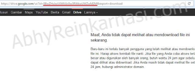 tak dapat download file dari Google Drive