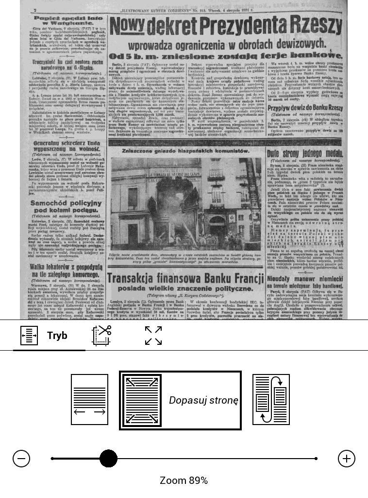 PocketBook Basic Lux 2 – skan gazety w pliku DJVU w trybie dopasowania do wielkości ekranu