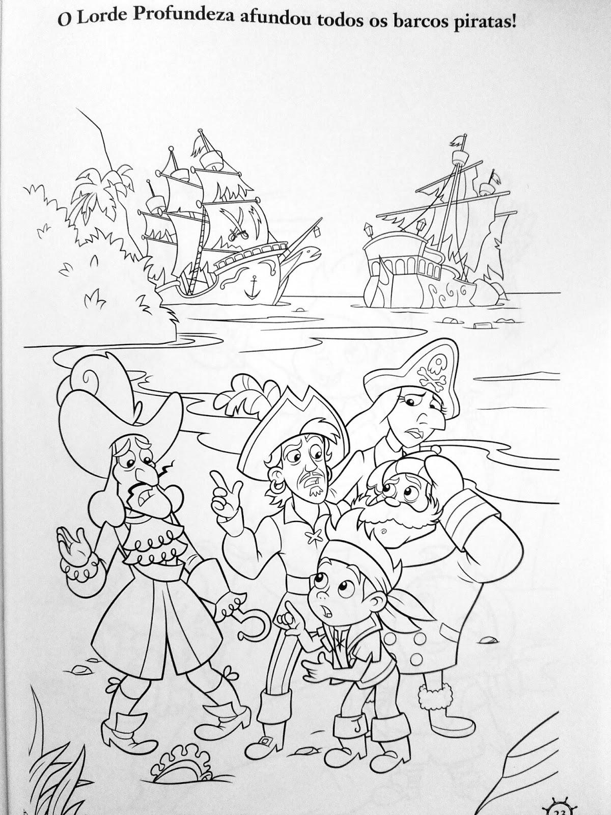 aprende brincando 7 desenhos para colorir o jake e os piratas na