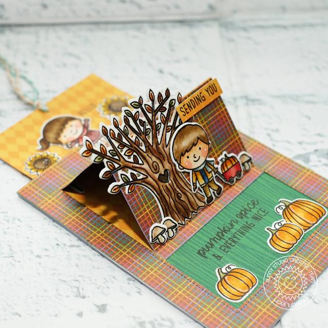 Sunny Studio Stamps: Fall Kiddos Happy Harvest Sliding Window Friendship Slider Card by Lexa Levana
