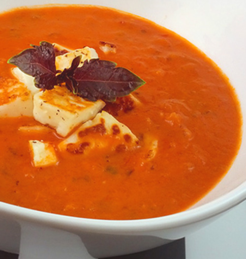 Hearty Tomato Soup with Seared Halloumi Cheese