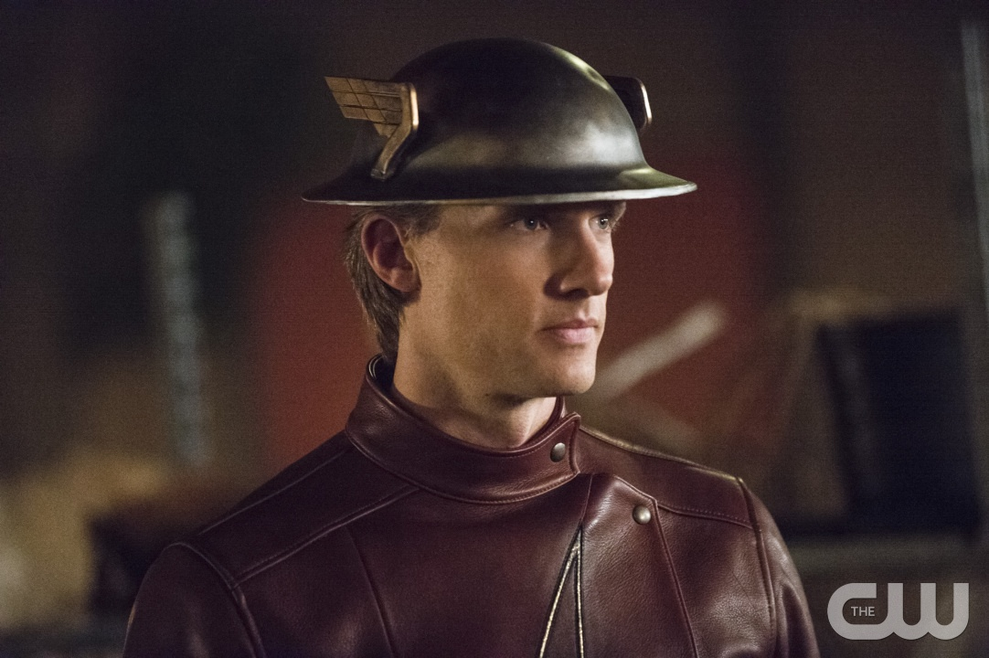 close-up of Teddy Sears as Jay Garrick in Earth-Two Flash's costume including winged helmet