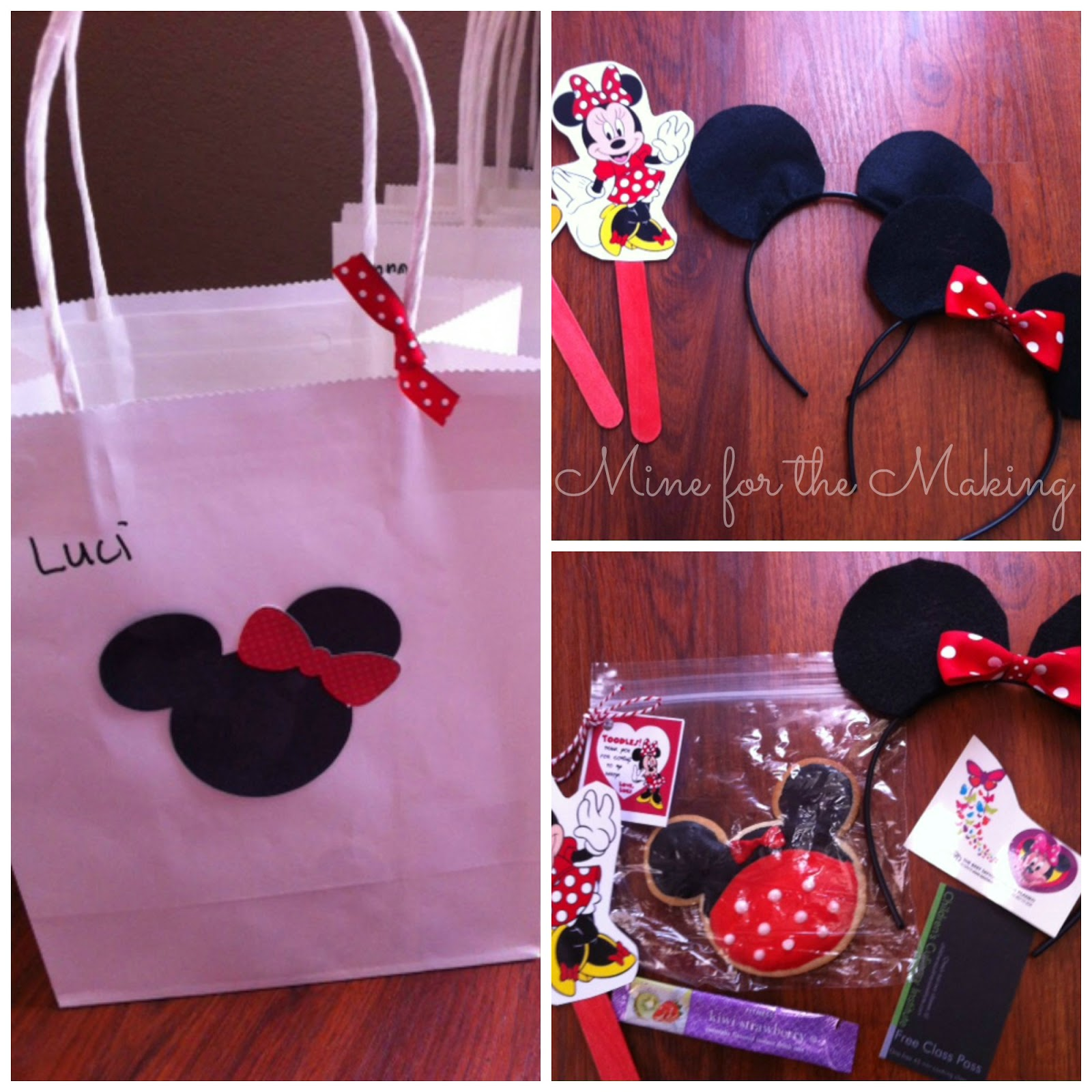 I Made The Goodie Bags Using White Gift From Dollar Store And Cut Out Minnie Faces Ribbon Super Easy Inexpensive