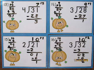 Long Division with Remainders Pumpkins Task Cards