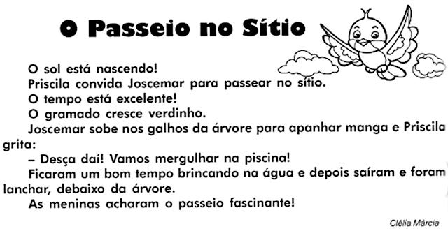 Texto O PASSEIO NO SÍTIO, de Clélia Márcia