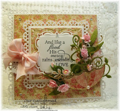 Our Daily Bread Designs,ODBD Stamps Used: How Sweet the Sound ODBD Dies Used: Layered Lacey Squares, Fancy Foliage, Aster , Umbrella  ODBD Paper Used: Blushing Rose Collection, designed by Chris Olsen