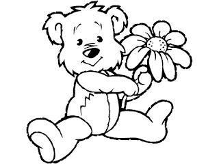 Teddy Bear With Flower Coloring Sheet Images For Print