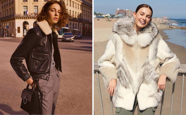 Девушка в куртке из кожи с мехом и в шубе из комбинированного меха