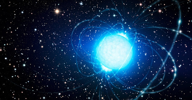Artist's conception of a powerful magnetar in a star cluster. Credit: ESO/L. Calçada
