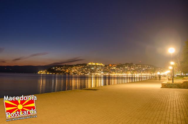 Ohrid city at night, Macedonia