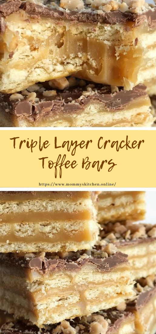 Triple Layer Cracker Toffee Bars #desserts #easy
