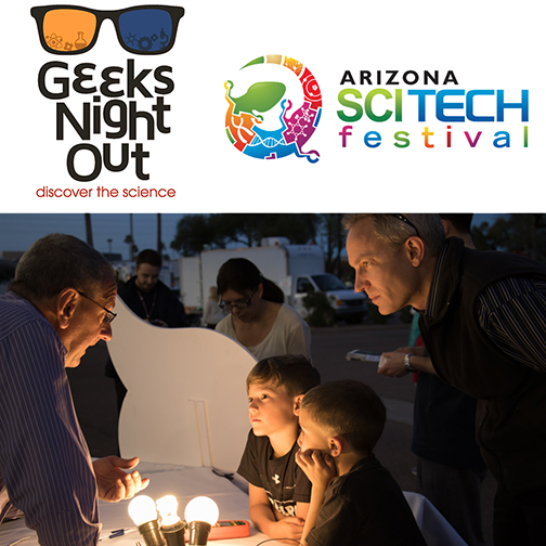 logos for City of Tempe Geeks Night Out and AZ SciTech Fest.  Text: Discover the Science.  Below header is an image of Rio Salado staff engaging with event attendees at our information booth