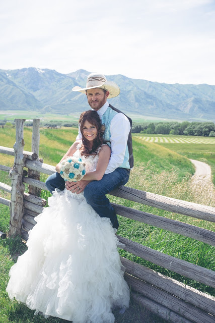 bride and groom  - western wedding