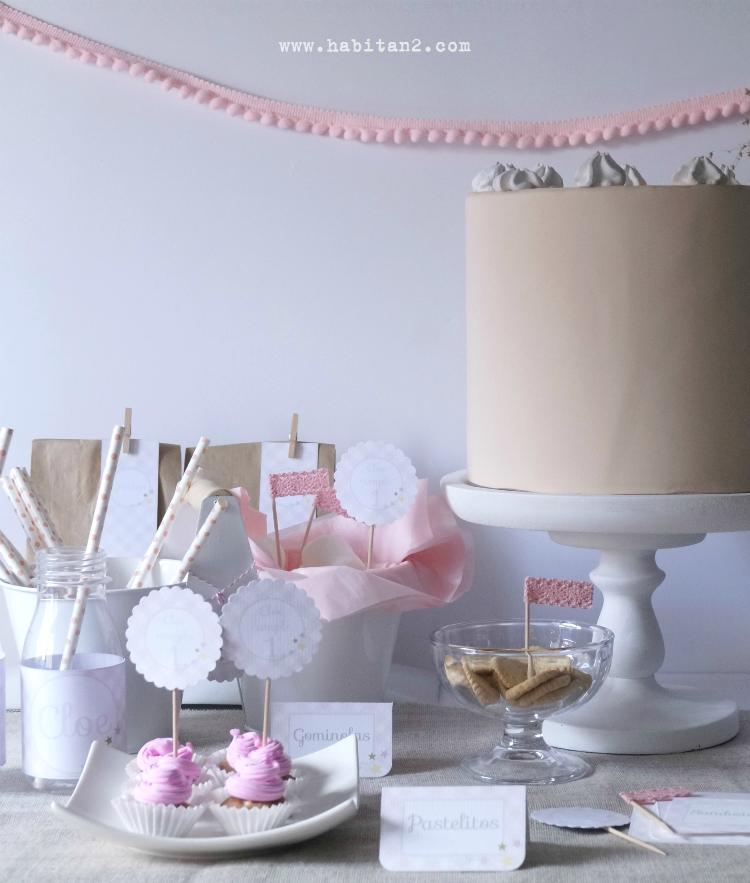 Party kit vichy-estrellitas personalizado para el cumple de Cloe  diseño de Habitan2| Decoración handmade para hogar y eventos | Decoración de mesas dulces y candy bar a precios low cost