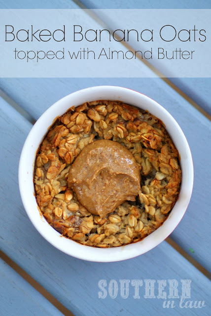 Individual Baked Banana Oatmeal with Almond Butter - Gluten Free, Vegan, Low Fat