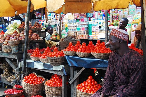 Tomatoes sold at market in Nigeria