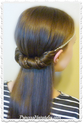 Easy hairstyle for school. Half up headband wrap with micro braids.