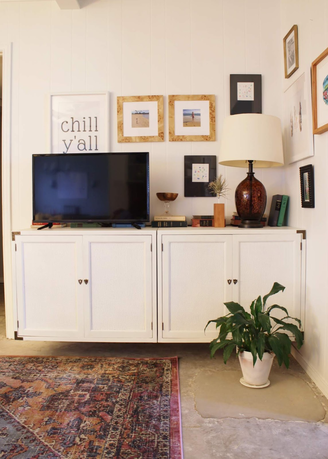french cleat wall mount media cabinet- a modern way to update a secondhand cabinet | House Homemade