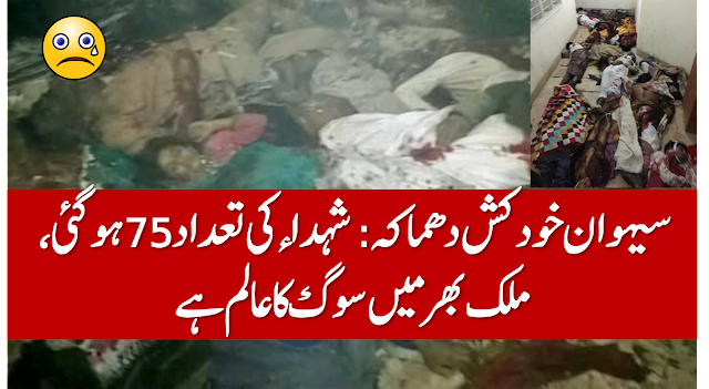 Death reached to 75 as suicide bomber strikes inside #LalShahbazQalandar shrine in Sehwan