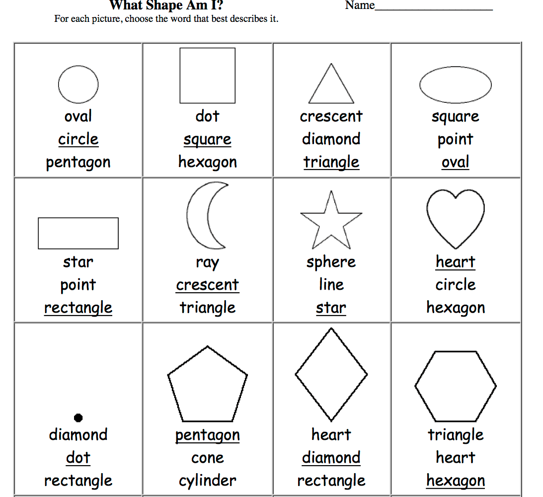 Shape Word Wall Worksheet